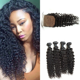 Discount 16 inch peruvian closure hair - 100% human hair extensions virgin peruvian deep wave curly hair bundles with silk top closures G-EASY