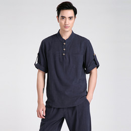 $enCountryForm.capitalKeyWord Canada - Free Shiping Chinese Traditional Linen Short Sleeve Tang Suit Tops Kung Fu Uniform Kung Fu Jacket 5 Color