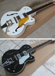 Discount white guitar black hardware - Ebony Fingerboard **Korean Tuners New Style Custom Shop White & Black Falcon 6120 Hollow Body Jazz Electric Guitar Hardw