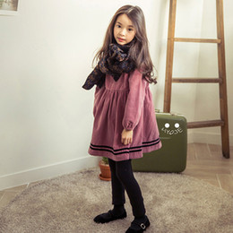 Longue Robe Tutu Robe Pas Cher-Everweekend Girls Ruffles Purple Corduroy Party Dress Candy Color Sweet Children Fashion Autumn Long Sleeve Dresses