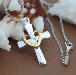crosses crucifix Canada - Cross Ten Necklace Gold and Silver Cross Heart Necklace 925 Silver Plated Crucifix Heart Pendant Necklace DHL Christmas Gift