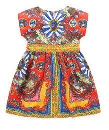 Chinese  2016 Summer Children Girls Short Sleeve Palace Styles Dressy Exaggerated Printed Kids Dresses Wear Girls Party Dress Clothes B4131 manufacturers