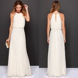 Barato Vestidos Maxi De Halter Branco-New Fashion Hot venda vestido de verão vestido de chiffon sem mangas Backless Sexy Long Party Dress branco elegante Maxi Beach 1pcs / lot drop shipping