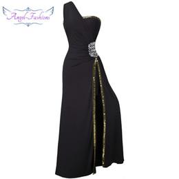 PePlum dresses online shopping - Angel fashions Women s One Shoulder Split Black Sequins Full Length Prom Formal Evening Dress