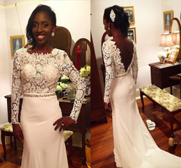 Wholesale 2016 White Lace Long Sleeves Mermaid Backless Prom Dresses For Black Girl Crew Neck Beaded Crystal Sash Pageant Dresses PD132