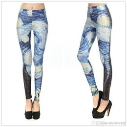 Barato Leggings Galaxy Hot-venda quente Mulheres Galaxy Van Gogh Leggings Starry Night Moda Black Milk Plus Size Calças Leggings S - XL frete grátis