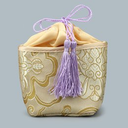 Tea Jewelry Canada - Patchwork Craft Small Drawstring Bucket Bag Jewelry Gift Bags Travel Storage Silk Brocade Lavender Sachet Tea Favor Bags Packaging Pouch