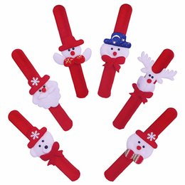 Slap hand toy online shopping - Christmas Patted Hand Circle Santa Claus Slap Bracelet Xmas decoration Wristband Snowman kids toys Gift Party Decoration
