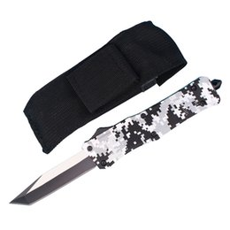 Discount folding tanto knives - Allvin Manufacture Large Size 616 Winter Digi Auto Tactial Knife 440C Single Edge Tanto Titanium Blade Gift Knives With