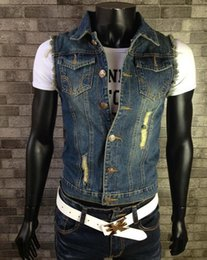 silk lapel flowers NZ - Mens Vest Jeans Casual Slim Denim Vest Sleeveless Jacket Cotton Ripped Waistcoats Outdoor Colete Plus Size S-5XL 6XL