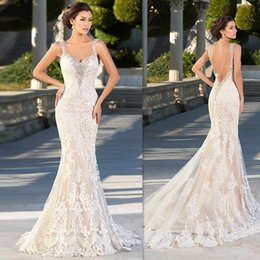 Barato Vestido De Noiva Trompete Querida-Zuhair Murad Vestidos de casamento 2016 Mermaid Lace Appliques Querida Vestidos de noiva Backless Sexy Beaded Gothic Trumpet Dress For Brides