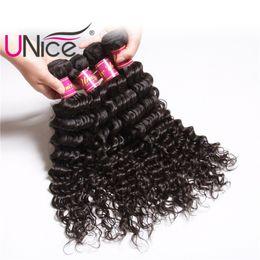 12 Inch Weft Human Hair Australia - UNice Hair Virgin Brazilian Deep Wave 4 Bundles 12-26 inch 100% Human Hair Extensions Wholesale Cheap Weft Bundle Remy Hair Products