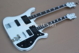 double neck bass guitar body UK - Rare RIC White Double Neck Guitar 4003 4 Stings Electric Bass & 360 6 Strings Electric Guitar Black Pickups Triangle MOP Fingerboard Inlay