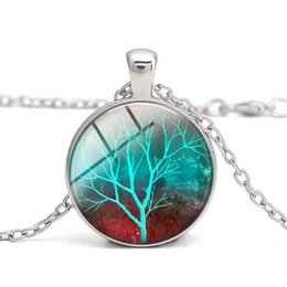 $enCountryForm.capitalKeyWord NZ - Tree of Life Pendant Necklace Glass Cabochon Purple Green Tree Charm Women Clothes Jewelry Alloy For Children Gift Wholesale