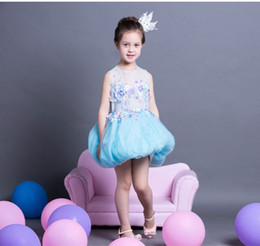 Wedding Dresses For Dancing Canada - 2016 Girls Pageant Dresses Ball Gown Blue 3D Flower Beaded Baby Little Tutu Flower Girls Dresses For Wedding Dance Costumes