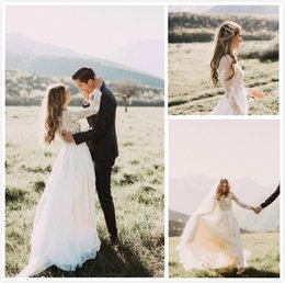 See through Shirt Skirt online shopping - Designer Bohemian Country Wedding Dresses With Sleeves Top See Through Lace Applique Berta Bridal Gowns Cheap Simple Chiffon Jewel Zipper