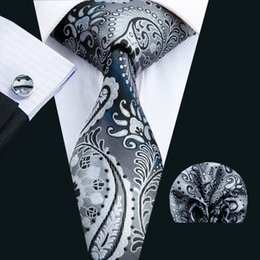$enCountryForm.capitalKeyWord Australia - Black Men Neck Tie Classic Silk Tie Sets Paisley Men Ties Tie Hankerchief Cufflinks Jacquard Woven Meeting Business Wedding Party N-1570