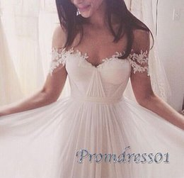 Barato Barato Branco Querida Prom-Sweetheart Off The Shoulder Lace Appliques Prom Dresses Long White Chiffon plissado elegante Prom Prom Dresses Fast Shipping