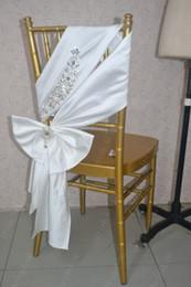 $enCountryForm.capitalKeyWord NZ - 2016 Custom Made Luxurious Crystal Satin Chair Covers Romantic Beautiful Ivory Chair Sashes Cheap Wedding Chair Decorations 010