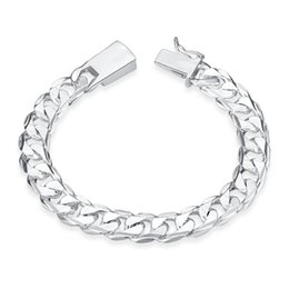 Men Silver Chain Set NZ - Silver Fill Fashion Bracelet Men Boys 925 Sterling Silver Jewelry Curb Figaro Chains Geometric Modeling Silver Bracelet