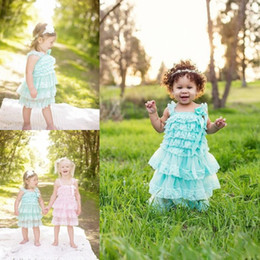 Barato Vestidos Casuais 11-2017 Cheap Mint Green Flower Girl Vestidos Tiered Comunhão Vestidos Lace Knee Length Kids Casual Wear