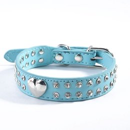 black rhinestone dog collar 2019 - High Quality! Dog Pet Buckle Leather Crystal Heart Collar Rhinestones Neck Strap cheap black rhinestone dog collar
