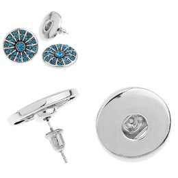 Discount noosa snap earrings - Noosa snap Stud dull silver round stud snap earrings Fit DIY noosa snap buttons charms Fashion Jewelry earings