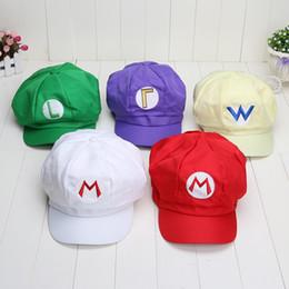 ca395e04cdc6d6 Super Mario Bros Anime Cosplay Red Cap Mario Luigi Wario Waluigi cotton hat  Super Mario hats Game Cosplay