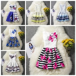 flower boutiques 2019 - Fashion 6 styles girl floral dress cat flower butterfly printed big girl prom dresses children skirts fashion top qualit