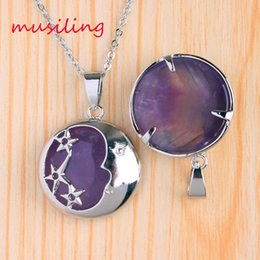 star rose quartz NZ - Amethyst Rose Quartz etc Natural Stone Silver Plated Mascot Star and Crescent Reiki Pendant Pendulum Charms Amulet Fashion Jewelry 10pcs