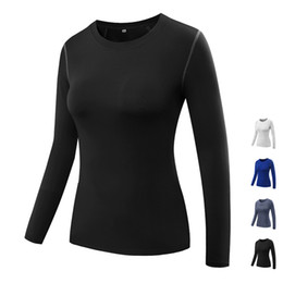 Training Tights Women Canada - Women High Elastic Compression Tights Yoga Clothing Fitness Gym Exercise Training Sports Clothing Quickly Dry Running Yoga long sleeve Shirt