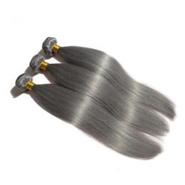 straight raw hair 2019 - 2019 New Fashion Silver Grey Human Hair Extensions Raw Virgin Indian Silky Straight 3Pcs Cuticle Aligned Cheap Gray Weav