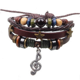 Musical Beads Canada - Vintage pentagon beads musical note BRACELET Women wrist Bracelets Charm wrist bangle jewelry FAST DELIVERY Traceable tracking number