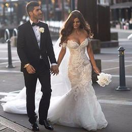 steven khalil lace 2019 - 2017 Gorgeous Steven Khalil Dubai Arabic Wedding Dresses Mermaid Off the Shoulder Full Length Backless Lace Bridal Gowns