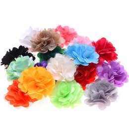 China Wholesale 100PCS Baby girls Hair Accessories Flower DIY Decorations Satin Hair flower Wihtout Clips Baby Flowers for Hairband cheap flower for decoration wholesale suppliers