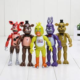 Vente en gros 5pcs / set 5.5 '' FNAF Cinq Nuits Chez Freddy PVC Action Figure Jouet Foxy Or Freddy Chica Freddy LED Lumières