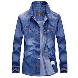 74c0a5d12d5 2017 Spring men s fashion casual brand cowboy cotton long sleeve shirts  autumn man denim blue shirt plus size S-4XL