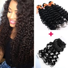 Hair Straightening Products Wholesale NZ - 7a Brazilian Virgin Hair With Closure Curly Deep Wave Rosa Hair Products 3 Bundles With Middle Free Three Part Lace Closure