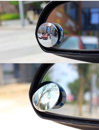 Venta al por mayor de 2 UNIDS Coche espejo retrovisor pequeño espejo redondo Punto ciego espejo gran angular 360 grados ajustable retrovisor auxiliar