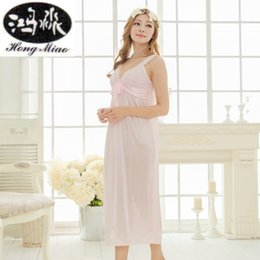 Wholesale- Summer New Sexy Long Nightdress Women Sling Lace Embroidered Nightwear  Ice Silk Nightgown Princess Cute Girl Home Sleepwear 82c360e22