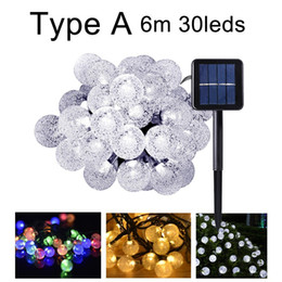 Wholesale 6m m Solar Lights Christmas LED String Light Lamps Outdoor Garden Decoration Lantern Crystal Cotton Ball Bulb for Garland Holiday CE ROSH