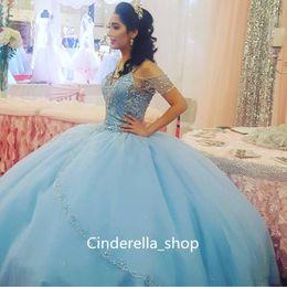 2019 Light Sky Blue vestido de baile quinceanera vestidos espaguete Cap manga beading cristal princesa vestidos de festa de formatura para o doce 16 meninas venda por atacado