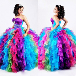 Taille Robe Arc-en-ciel Pas Cher-Luxe arc robes Quinceanera cristal volants niveaux Prom robes perlé Sweep Taille train plus formelle Pageant Dress