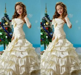 $enCountryForm.capitalKeyWord Canada - 2016 Strapless Mermaid Flowers Girl Dress For wedding party Bow Ruffle Formal Dresses Girl's Pageant Gowns Floor-length