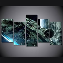 Canvas Prints Free Shipping Australia - 5 Pcs Set Framed Printed millennium falcon Hot Movie Painting Canvas Print room decor print poster picture canvas Free shipping ny-4502