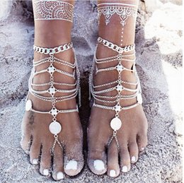2016 Fashion Plated Aolly Anklets Jewelry Retro Stainless Steel Chain Bare Feet Sandals Embellishment Beach Wedding Accessories