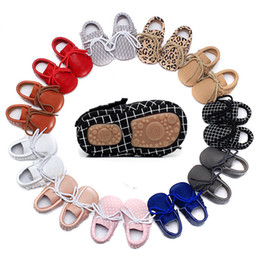 Hard Sole Baby Shoes Wholesale Canada - Baby Moccasins Hard Sole Genuine Leather Lace-up Anti-slip Baby Shoes Infant Toddler Walking Shoes 0-24 Months
