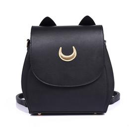 Backpacks For Girls Canada - Wholesale-New Sailor Moon Black PU Leather Backpack Women Shoulder Rucksack 2016 School Bags for Teenage Girls Brand Sac A Dos Femme