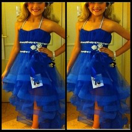 $enCountryForm.capitalKeyWord Canada - Royal Blue Little Kids Organza Girls Pageant Dresses Beaded Spaghetti Cute Pageant Zipper A Line Long Little Girls Party Dresses
