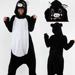 sleepwear costumes Australia - New Arrival Hot Sale Lovely Cheap Kigurumi Pajamas Anime Pig Cosplay Costume Unisex Adult Onesie Black Dress Sleepwear